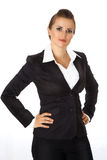 Donna moderna di affari con le mani sulle anche Fotografie Stock Libere da Diritti