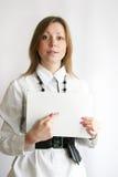 Donna, mostrante soldi Fotografia Stock