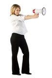 Donna munita con un altoparlante Immagine Stock Libera da Diritti