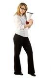 Donna munita con un altoparlante Fotografia Stock