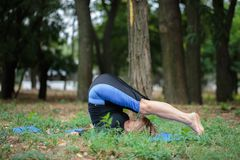 Donna muscolare che risolve su uno sfondo naturale Forte donna anziana di yoga Concetto duro di yoga Fotografia Stock