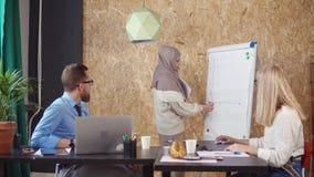 Donna musulmana che attinge un bordo bianco stock footage