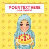 Donna musulmana che tiene un piatto del dessert