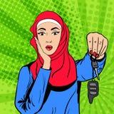 Donna musulmana di Pop art di vettore con le chiavi Immagini Stock Libere da Diritti