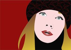 Donna nei bei colori rossi Fotografia Stock