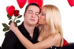 Donna nel baciare di amore Immagine Stock Libera da Diritti