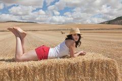 Donna nel campo Fotografia Stock