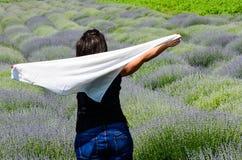 Donna nel campo di Lavander Fotografia Stock Libera da Diritti
