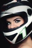 Donna nel casco del motociclista Fotografie Stock