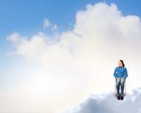 Donna nel cielo Fotografie Stock Libere da Diritti