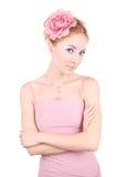 Donna nel colore rosa Immagini Stock Libere da Diritti