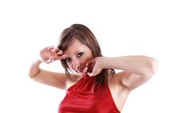 Donna nel colore rosso Fotografie Stock Libere da Diritti