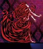 Donna nel colore rosso. Immagini Stock