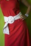 Donna nel colore rosso Fotografie Stock