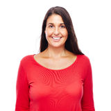 Donna nel colore rosso Fotografia Stock