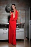 Donna nel colore rosso Fotografia Stock Libera da Diritti