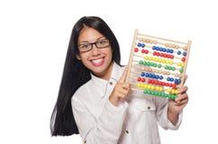 Donna nel concetto di affari divertenti su bianco Immagini Stock Libere da Diritti