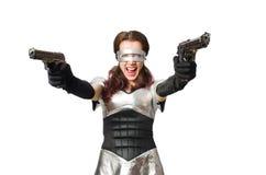 Donna nel concetto di tecnologia isolata Immagine Stock Libera da Diritti