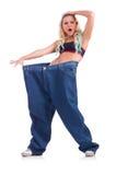 Donna nel concetto stante a dieta Fotografie Stock