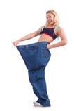 Donna nel concetto stante a dieta Fotografia Stock Libera da Diritti