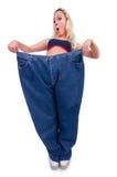 Donna nel concetto stante a dieta Fotografia Stock