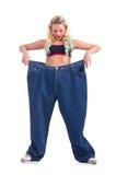 Donna nel concetto stante a dieta Immagine Stock Libera da Diritti