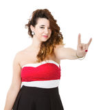 Donna nel gesto corneo rosso immagine stock