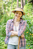 Donna nel giardino Fotografia Stock