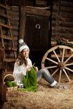 Donna nel granaio del villaggio con tricottare a disposizione fotografie stock libere da diritti