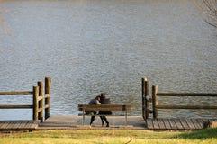 Donna nel lago immagine stock