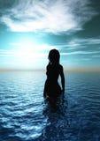 Donna nel mare Fotografia Stock Libera da Diritti