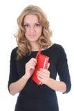 Donna nel nero con il blocchetto per appunti rosso Fotografie Stock Libere da Diritti
