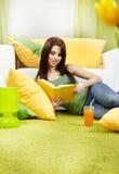 Donna nel paese che legge un libro Fotografie Stock