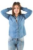 Donna nel panico con le mani sulla testa Immagine Stock