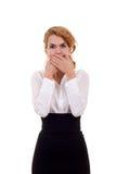 Donna nel parlare nessuna posa diabolica Fotografie Stock Libere da Diritti