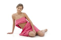Donna nel rosa - cancro al seno Awereness Fotografia Stock