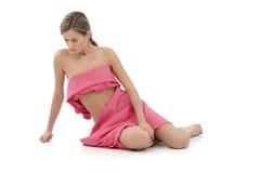 Donna nel rosa - cancro al seno Awereness Immagine Stock Libera da Diritti