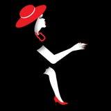Donna nel rosso e nel nero Fotografia Stock