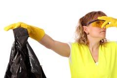 Donna nel suo uso 40s guanti ed occhiali di protezione Fotografie Stock Libere da Diritti