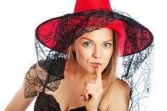 Donna nell'immagine della strega nella campana Fotografia Stock Libera da Diritti