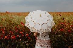 Donna nell'interpretazione artistica del filtro dal campo dei papaveri Fotografie Stock