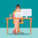 Donna nell'ufficio alla tavola Illustrazione piana di vettore Fotografia Stock Libera da Diritti