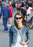 Donna nella città Fotografie Stock