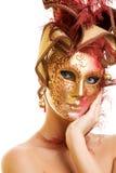 Donna nella mascherina di carnevale Fotografia Stock