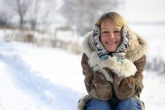Donna nella neve Fotografia Stock Libera da Diritti