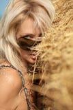 Donna nella pila del fieno Fotografia Stock