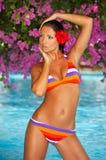 Donna nella piscina Fotografia Stock Libera da Diritti