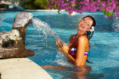 Donna nella piscina Immagini Stock