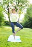 Donna nella posa dell'albero di yoga Fotografia Stock