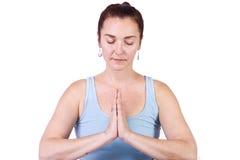 Donna nella posizione di yoga immagini stock